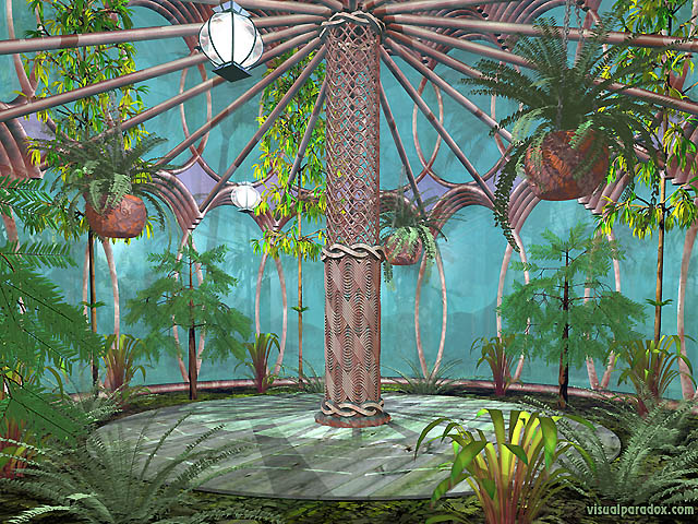 hothouse, plants, nature, glass, trees, column, house, interior, jungle, free, 3d, wallpaper