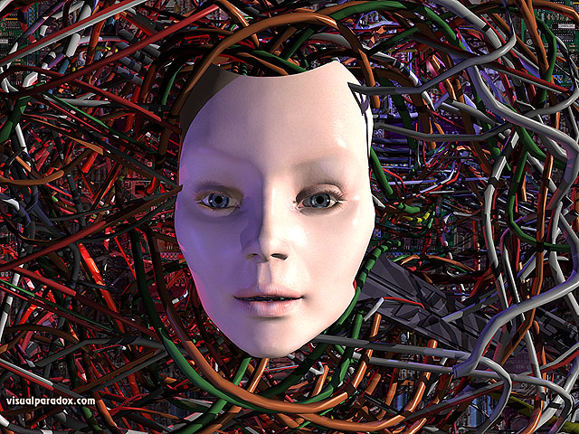 robot, computer, wires, wired, electric, female, girl, woman, AI, artificial, mechanical, electrical, replicant, android, droid, free, 3d, wallpaper