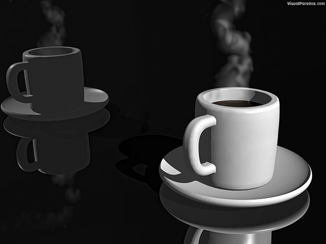 coffee, cup, steaming, reflection, black, tea, hot, free, 3d, wallpaper