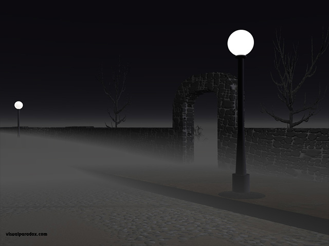 street, lights, fog, stone, wall, cobblestones, romantic, spooky, creepy, streelight, lamp, free, 3d, wallpaper