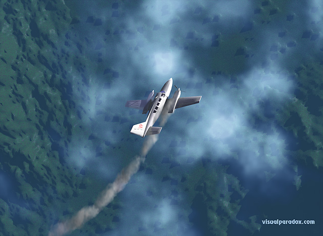 airplane, crash, down, smoke, clouds, altitude, airline, plane, free, 3d, wallpaper