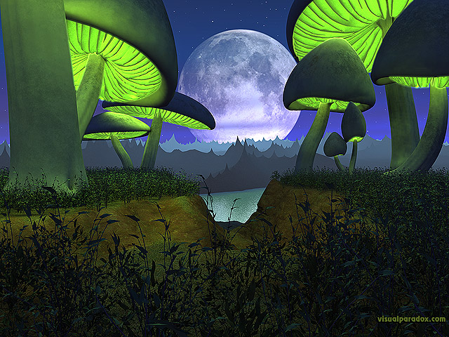 3d, alien, bright, colorful, fantasy, fiction, forest, fungus, glowing, grass, landscape, light, lunar, moon, mushroom, planet, plants, render, sci-fi, sky, strange, toadstool, weird, green, glow, radiate, world, free, 3d, wallpaper