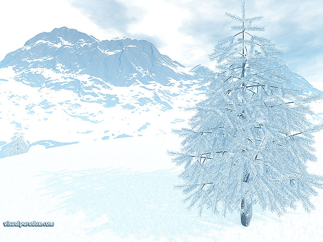 snow, winter, ice, cold, frozen, blue, pine, tree, fog, mist, free, 3d, wallpaper