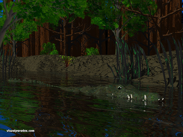 alligator, crocodile, pond, river, lake, swamp, forest, swimming, water, crocodiles, animal, animals, free, 3d, wallpaper