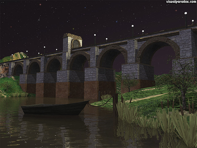 crossing, river, vines, stone, leaves, span, dingy, row boat, bridges, free, 3d, wallpaper