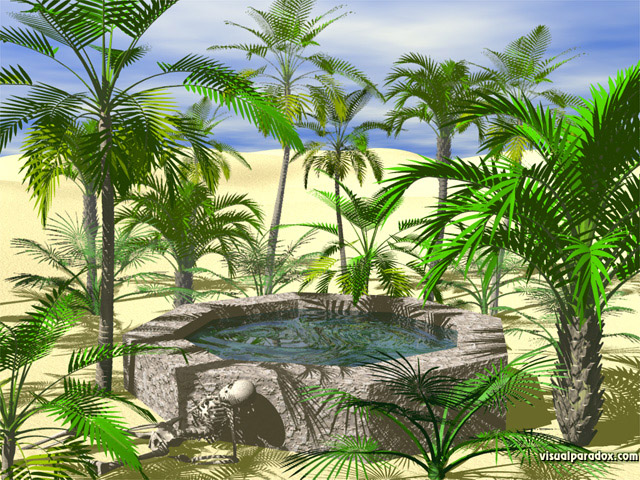palm trees, desert, well, water hole, skeleton, hot, sand, dunes, tree, free, 3d, wallpaper