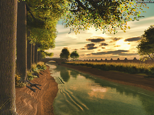 canal, stream, river, channel, creek, waterway, trees, tree-lined, cottonwood, sunset, sunrise, wall , free, 3d, wallpaper