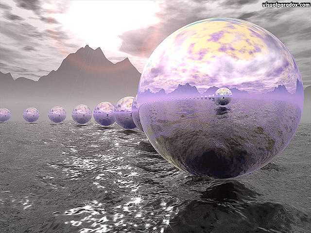spheres, chrome, rough, ocean, sea, waves, sun, formation, circle, free, 3d, wallpaper