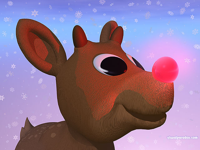 red, nosed, reindeer, christmas, xmas, snow, flakes, rudolf, holiday, nose, free, 3d, wallpaper