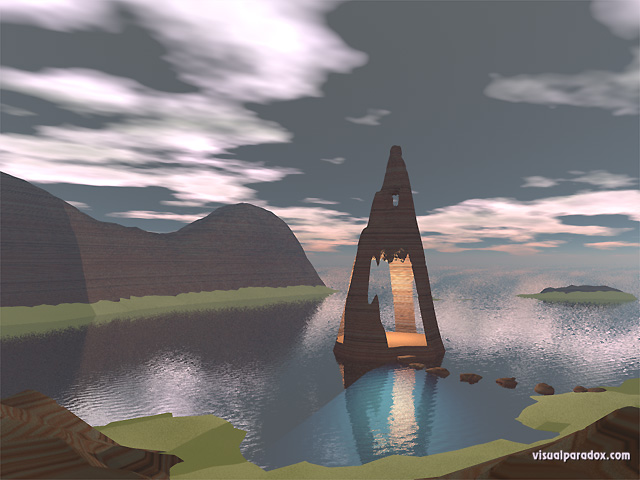 ocean, water, island, gazebo, cave, stepping, stones, evening, night, free, 3d, wallpaper