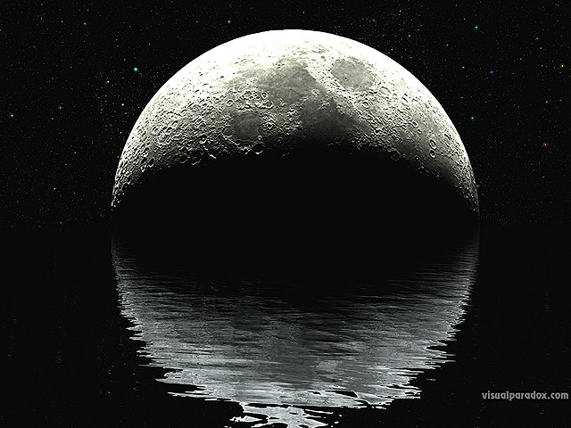 moon, lunar, ocean, water, waves, ripples, night, stars, planet, reflection, planets, black, white, sea, craters, free, 3d, wallpaper