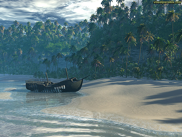 beach, boat, ocean, front, palm, trees, sea, waves, break, sand, ship, lost, marooned, castaway, cliff, tropical, free, 3d, wallpaper