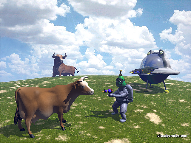 alien, ufo, space, ship, craft, cow, bull, brown, pasture, invasion, take me to your leader, aliens, free, 3d, wallpaper