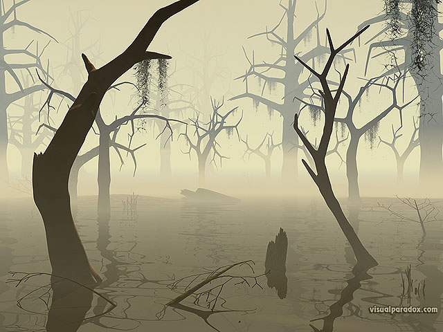marsh, wetland, watershed, flood, quagmire,everglades, trees, forest, bottoms, dead, decay, forboding, scary, creepy, free, 3d, wallpaper