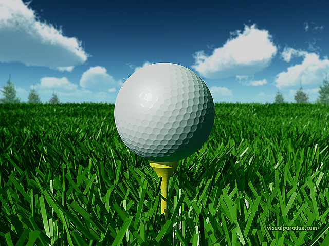 golf, golfball, tee, off, fairway, grass, day, closeup, ball, free, 3d, wallpaper