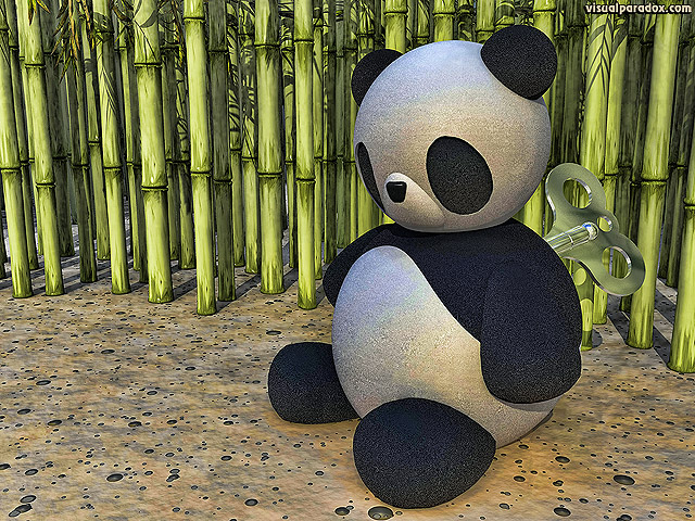 panda, clockwork, wind-up, key, china, winding, toy, doll, bamboo, cane, bear, wound, down, free, 3d, wallpaper