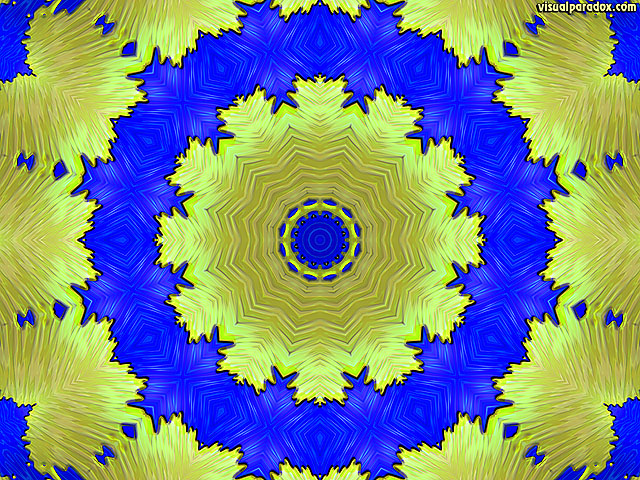 blue, yellow, kaleidoscope, optical, illusion, animated, dizzy, movement, symmetrical, free, 3d, wallpaper