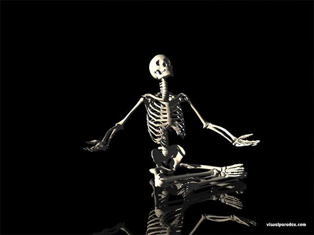 skeleton, questioning, deciding, seated, sitting, waiting, skeletons, skull, free, 3d, wallpaper