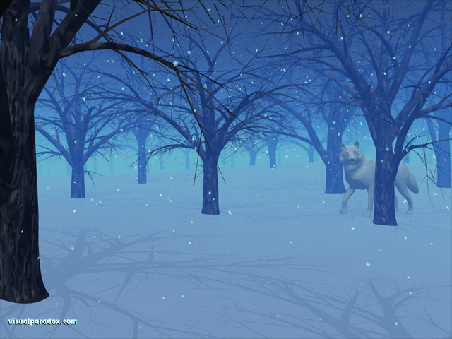wolf, snow, flakes, trees, woods, forest, winter, wolves, animal, animals, free, 3d, wallpaper