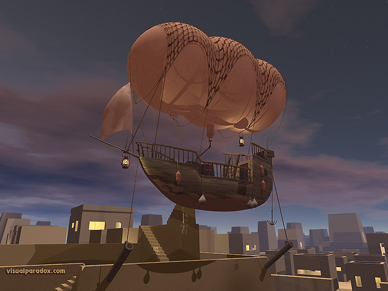 balloon, float, dirigible, ship, boat, fly, flying, helium, hydrogen, hot, city, flight, night, 3d, wallpaper