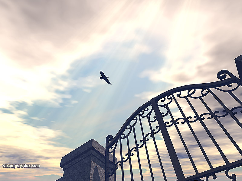 raven, crow, bird, gothic, sun, rays, iron, gate, fence, sky, clouds, fly, 3d, wallpaper
