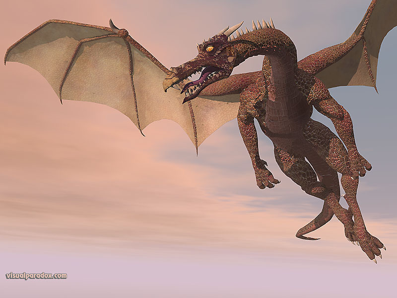 fly, wyrm, mythical, monster, soar, dragons, 3d, wallpaper