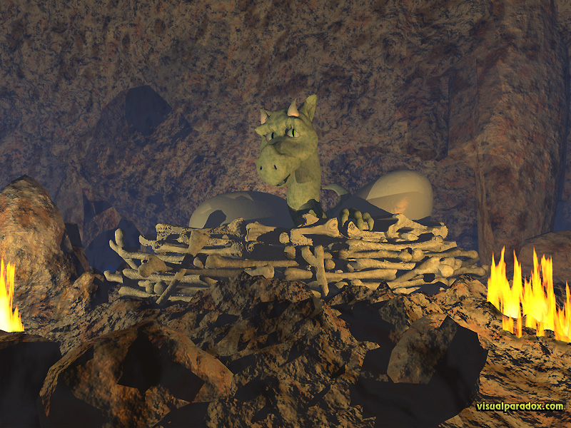 baby, young, eggs, bones, cave, lair, mythical, monster, hatchling, dragon, 3d, wallpaper