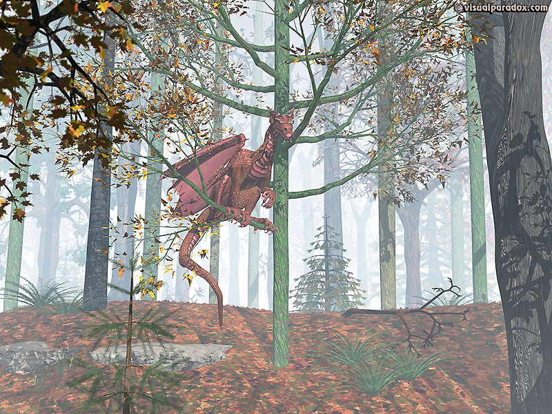 dragon, wyrm, mythical, monster, small, perch, crimson, red, forest, tree, fog, mist, phoenix, dragons, trees, 3d, wallpaper