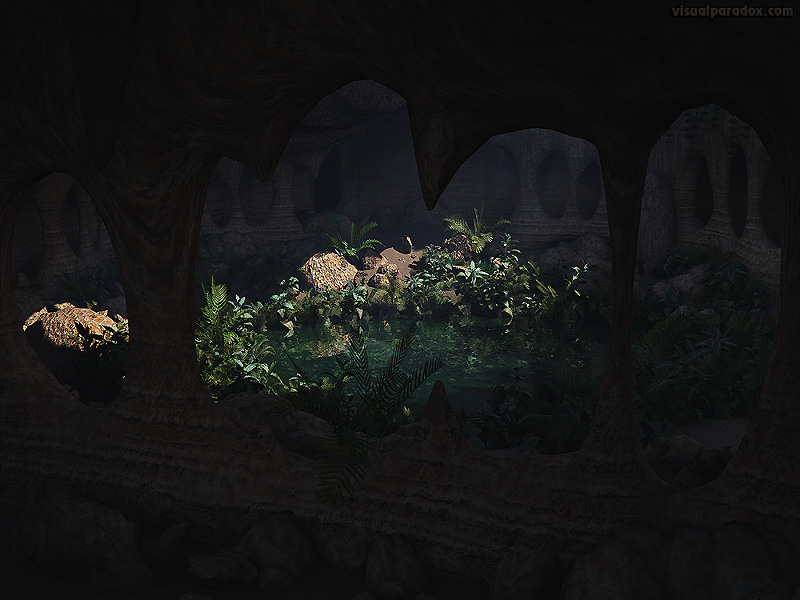 above, background, beauty, botany, catacomb, cave, cavern, chamber, dark, entrance, environment, flow, foliage, garden, geology, green, grot, grotto, hidden, hole, lake, leaf, light, limestone, mineral, natural, nature, outdoors, pit, plant, plants, pond, pool, rock, scene, shelter, stone, sun, sunlight, sunny, tropical, view, water, weed, well, wet, wild, 3d, wallpaper