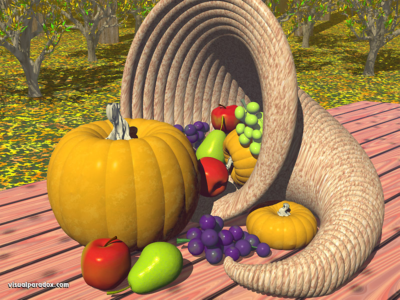 fruit, apples, pears, grapes, fall, autumn, pumpkins, pumkin, thanksgiving, holiday, cornucopia, 3d, wallpaper