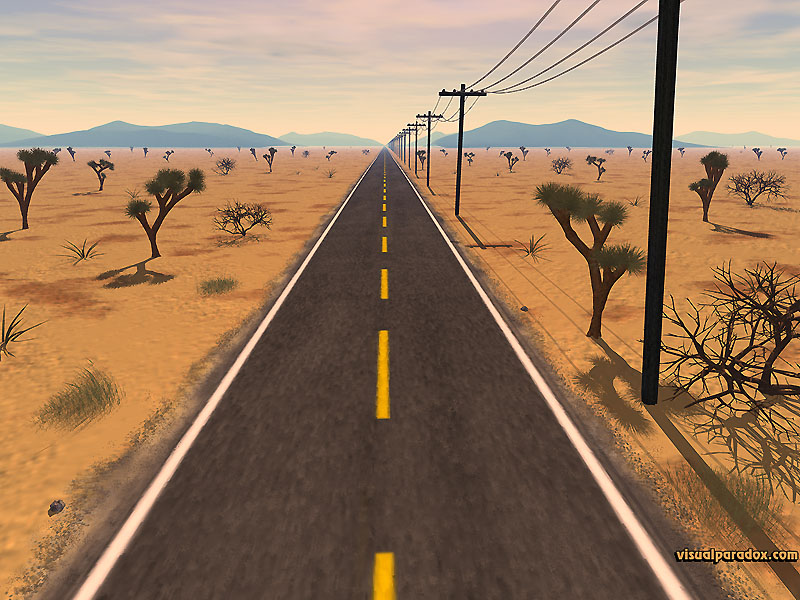 desert, lost, infinity, journey, street, avenue, stretch, trip, straight, 3d, wallpaper