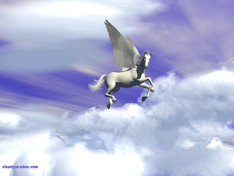 winged horse, flying, clouds, pegasi, horses, 3d, wallpaper
