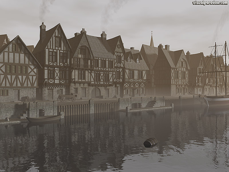 harbor, ocean, ship, village, city, medieval, town, water, bay, half timber, house  , 3d, wallpaper