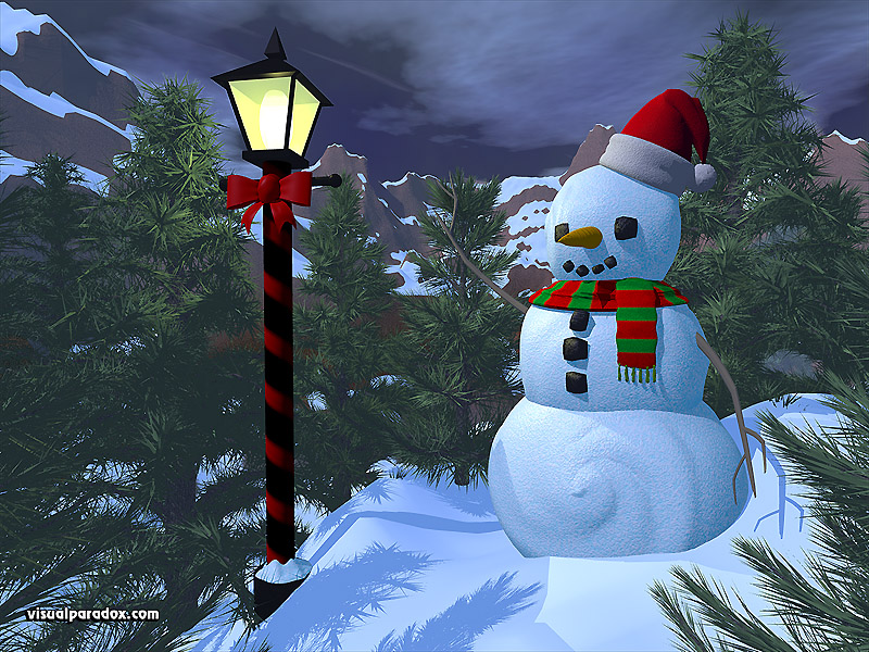 winter, lamppost, pine trees, christmas, holiday, decorations, snow, snowball, 3d, wallpaper