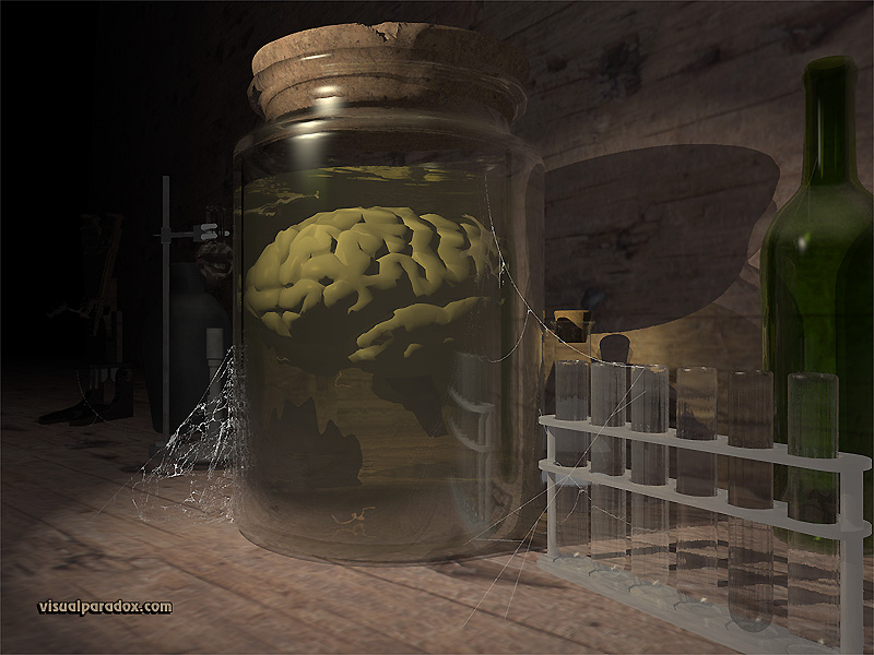 brain, jar, test tubes, lab, science, experiment, brains, 3d, wallpaper