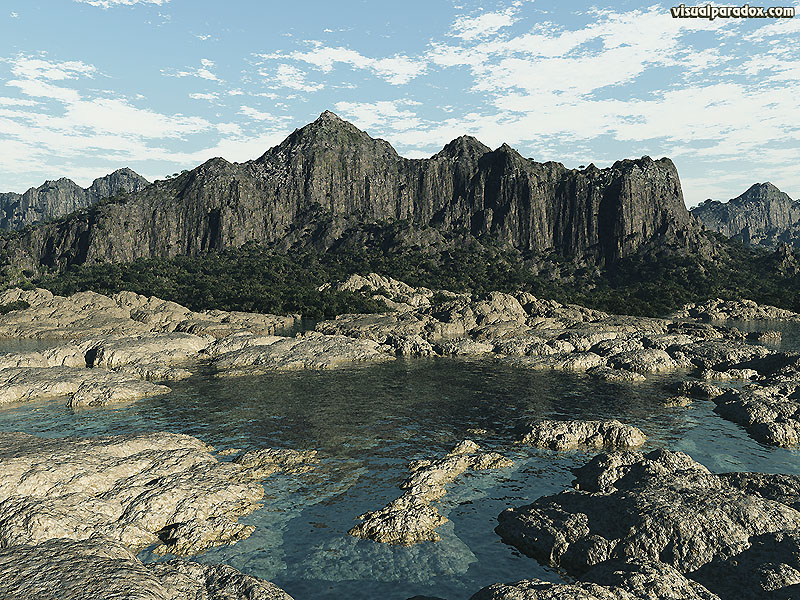 lagoon, watershed, rocky, shore, canyon, mountain, cliff, ocean, tide, water, 3d, wallpaper