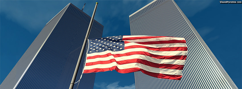 facebook, coverphoto, cover, flag, wtc, world, trade, center, memorial, terrorist, attack, hijack, america, honor, 9/11, september, 911, 9/11/01, 3d