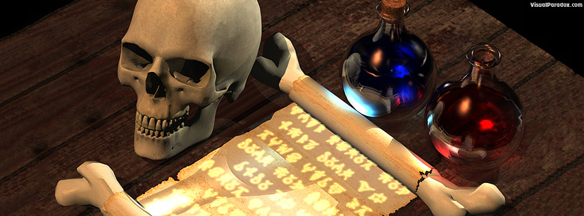facebook, coverphoto, cover, magic, spell, scroll, text, writing, tale, fantasy, skull, potion, spells, potions, alchemist, alchemy, 3d