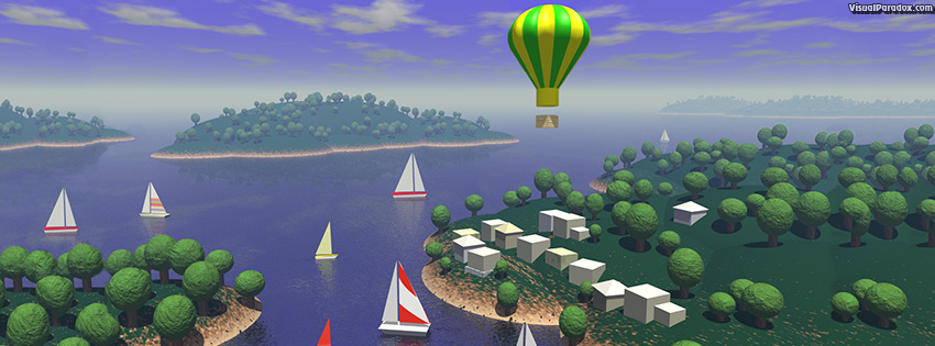 facebook, coverphoto, cover, sailboats, hot, air, balloon, ocean, water, islands, trees, village, fly, sail, 3d