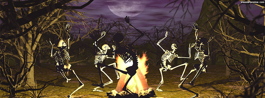 facebook, coverphoto, cover, dancing, skeletons, campfire, coven, gothic, undead, conjuring, bones, full moon, trees, scary, haunted, halloween, skeleton, 3d