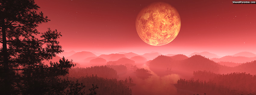 facebook, coverphoto, cover, atmosphere, branches, dark, dusk, fantasy, fiery, fire-mist, fog, foot, glowing, hills, landscape, mist, moon, nature, night, orbit, planet, red, silhouette, sky, tree, twilight, venus, 3d