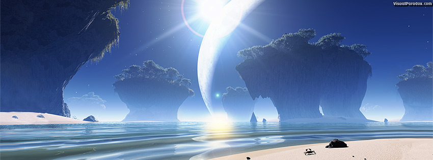 facebook, coverphoto, cover, crab, alien, moon, ocean, sea, waves, erosion, star, shine, lens flare, 3d