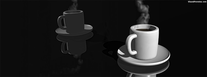 facebook, coverphoto, cover, coffee, cup, steaming, reflection, black, tea, hot, 3d