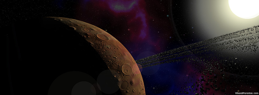 facebook, coverphoto, cover, ringed, planet, space, rings, rocks, sun, craters, stars, 3d