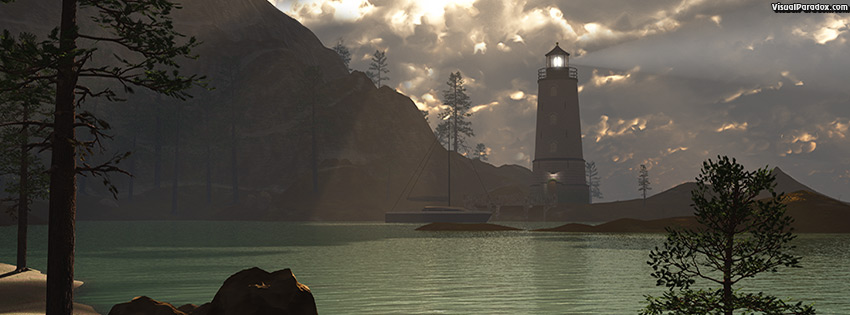 facebook, coverphoto, cover, lighthouse, cove, ocean, sea, beacon, sun, rays, beam, storm, warning, 3d