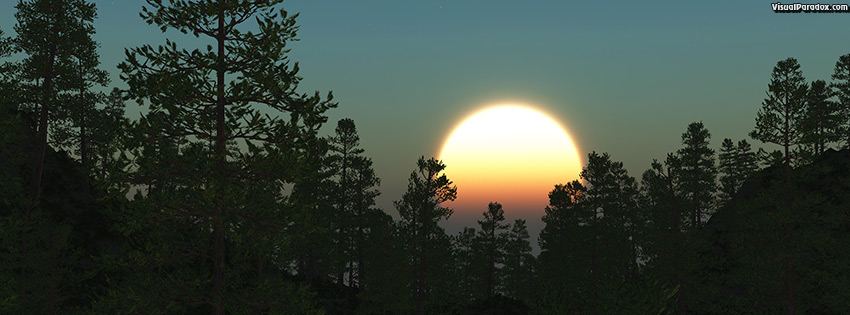 facebook, coverphoto, cover, pine, sun, rise, set, trees, forest, woods, tree, scot, pines, stars, 3d