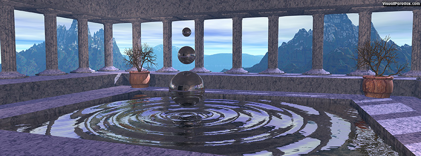 facebook, coverphoto, cover, fountain, pillars, temple, water, dancing, spheres, ripples, waves, magical, 3d
