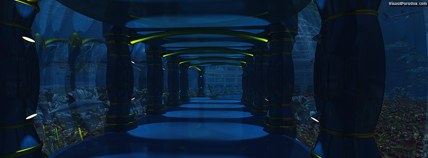 facebook, coverphoto, cover, Under, water, sea, ocean, bottom, castle, hall, dome, sharks, coral, fish, habitat, 3d