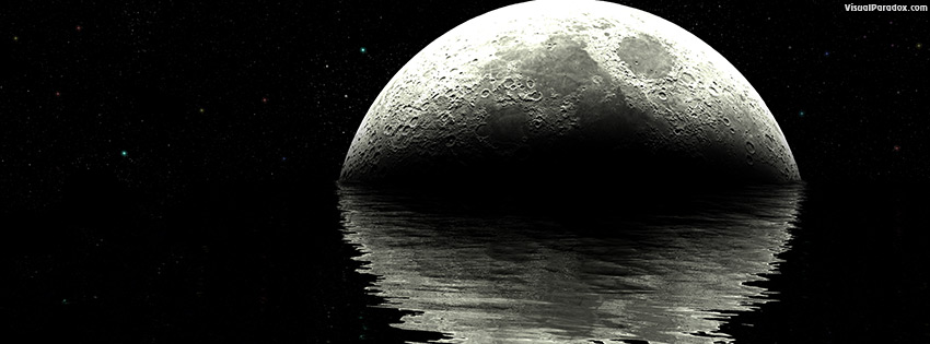 facebook, coverphoto, cover, moon, lunar, ocean, water, waves, ripples, night, stars, planet, reflection, planets, black, white, sea, craters, 3d