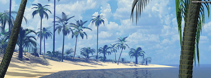 facebook, coverphoto, cover, palms, ocean, water, waves, deserted, sand, surf, sun, palm trees, beaches, 3d